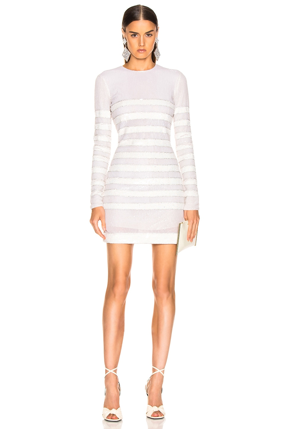 Image 1 of BALMAIN Sequin Stripe Long Sleeve Mini Dress in White & Natural