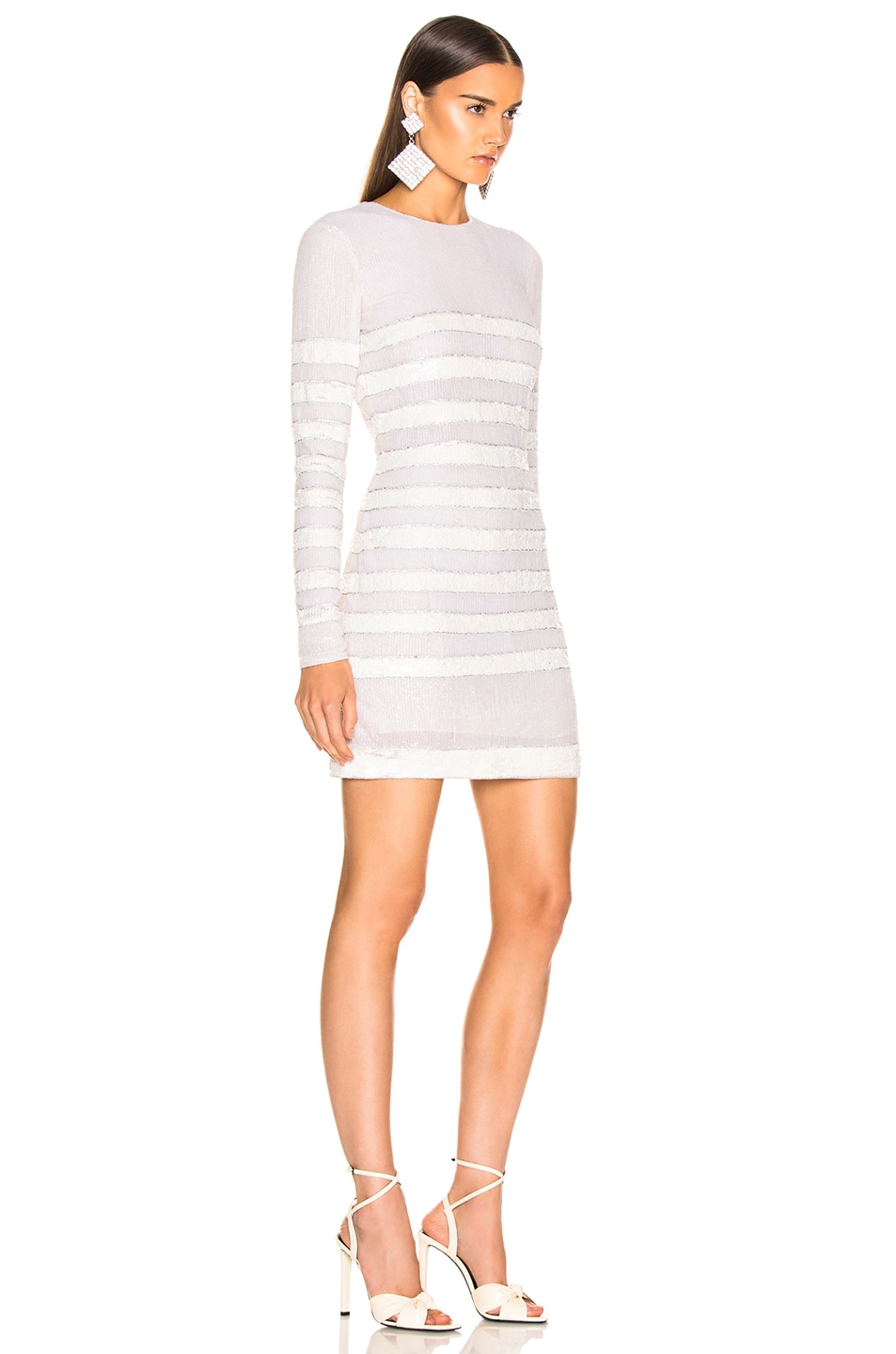 Image 2 of BALMAIN Sequin Stripe Long Sleeve Mini Dress in White & Natural