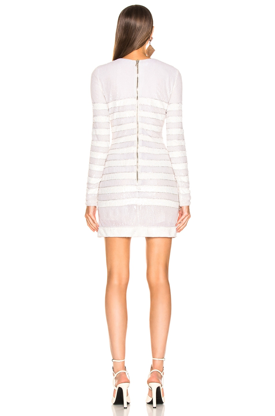 Image 3 of BALMAIN Sequin Stripe Long Sleeve Mini Dress in White & Natural