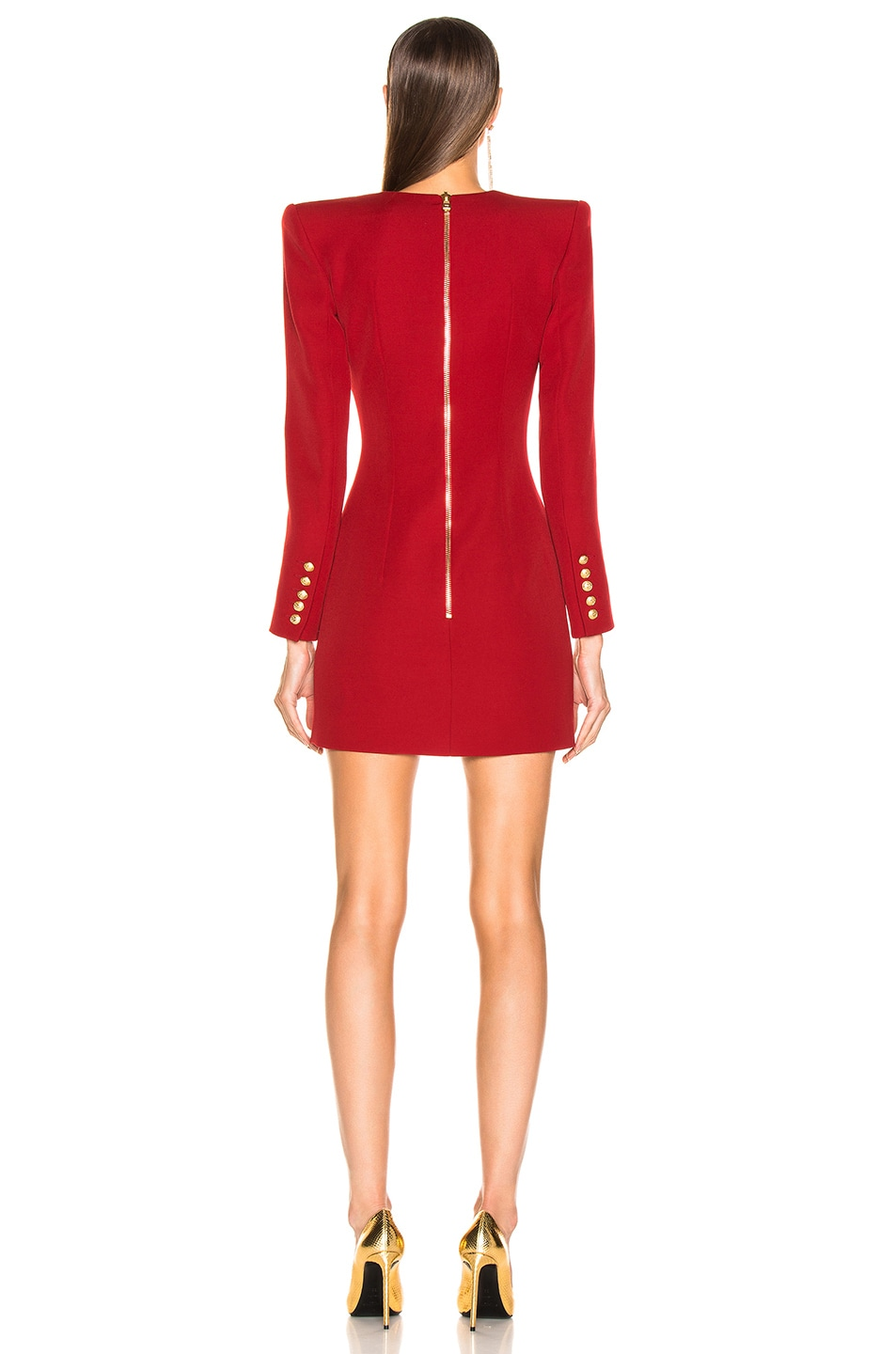 Image 3 of BALMAIN Wrap Blazer Dress in Dark Red