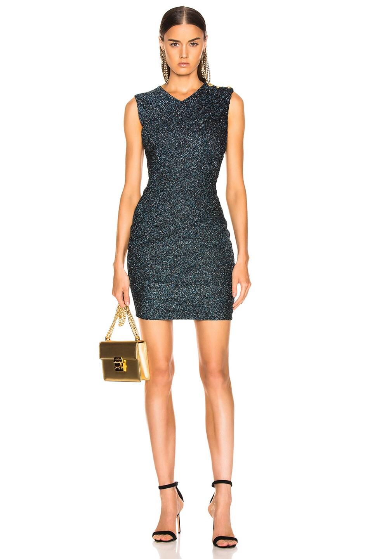 Image 1 of BALMAIN Draped Jersey Lurex Mini Dress in Black, Silver & Blue