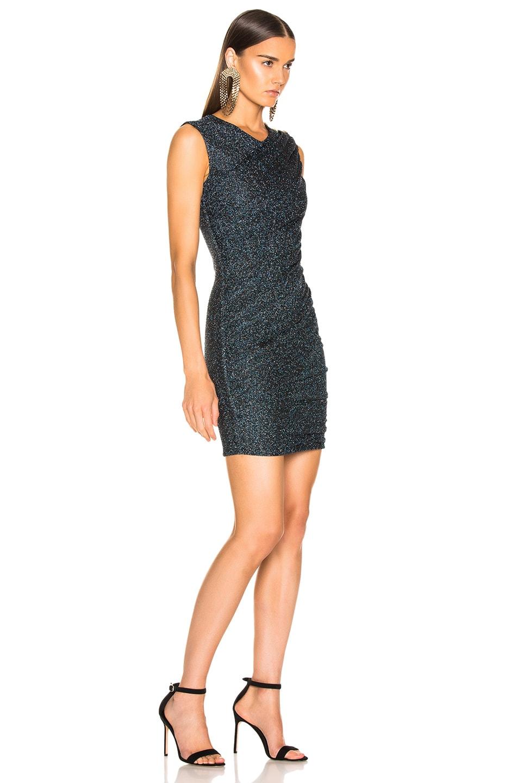 Image 2 of BALMAIN Draped Jersey Lurex Mini Dress in Black, Silver & Blue