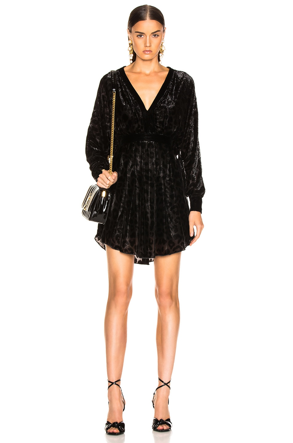 Image 1 of BALMAIN Velvet Burnout Long Sleeve Mini Dress in Black