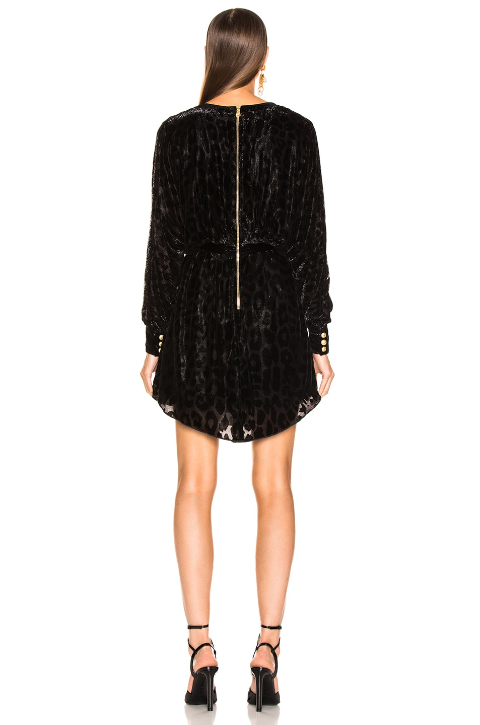 Image 3 of BALMAIN Velvet Burnout Long Sleeve Mini Dress in Black