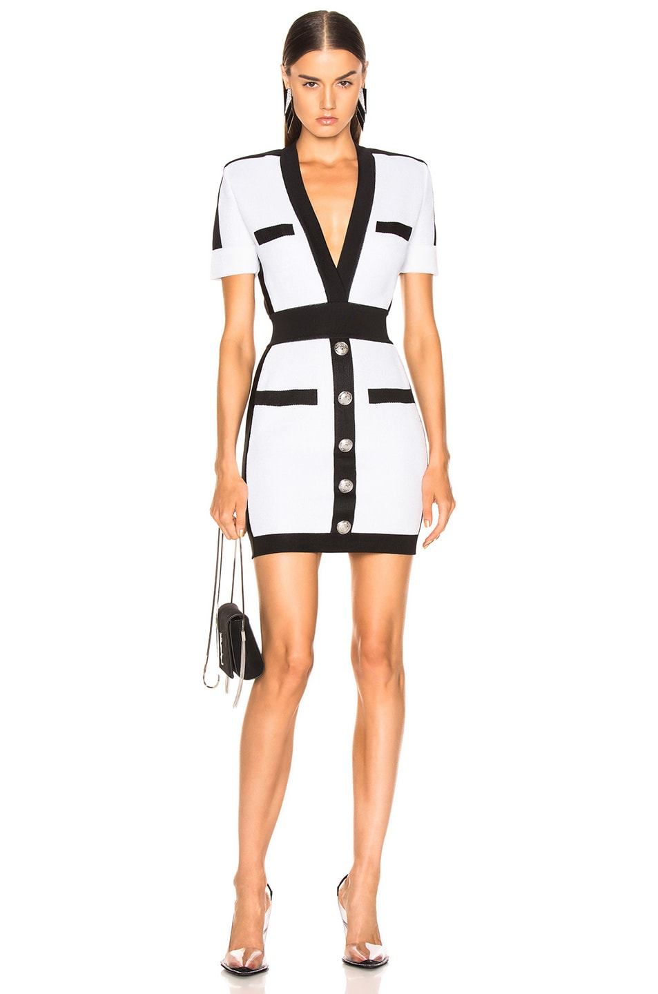 Image 1 of BALMAIN Contrast Trim Lurex Short Sleeve Mini Dress in Mother of Pearl & Black