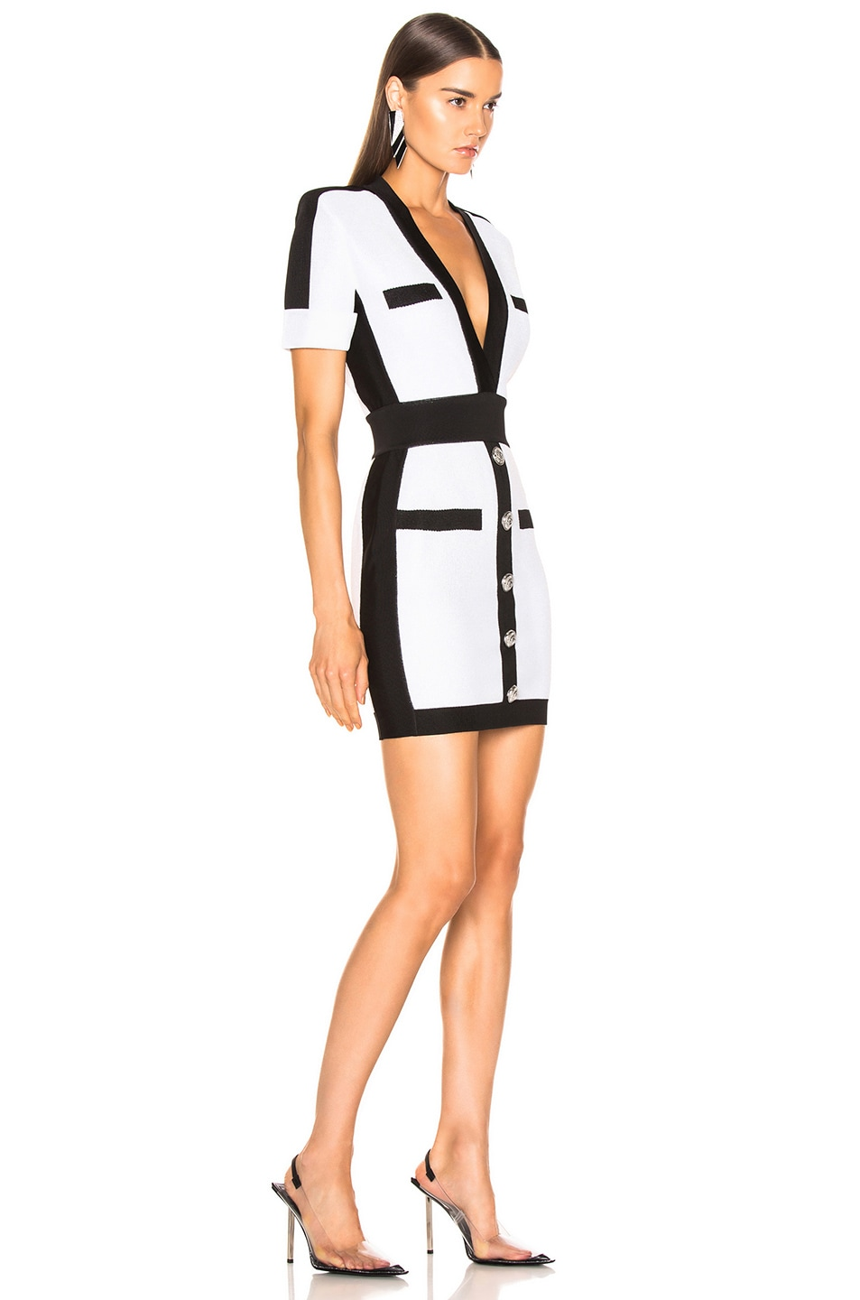 Image 2 of BALMAIN Contrast Trim Lurex Short Sleeve Mini Dress in Mother of Pearl & Black