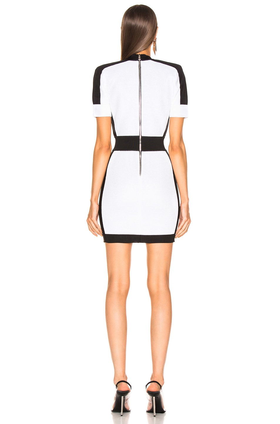 Image 3 of BALMAIN Contrast Trim Lurex Short Sleeve Mini Dress in Mother of Pearl & Black