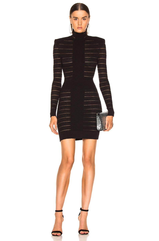 Image 1 of BALMAIN High Neck Medical Stripe Dress in Noir