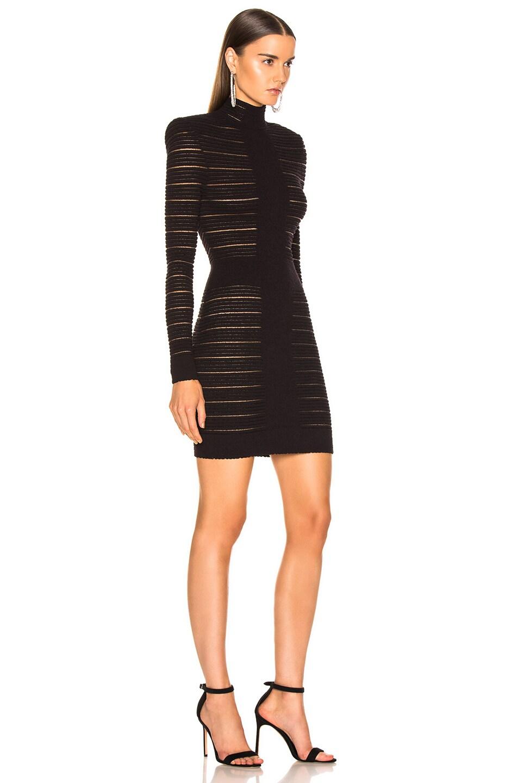 Image 2 of BALMAIN High Neck Medical Stripe Dress in Noir