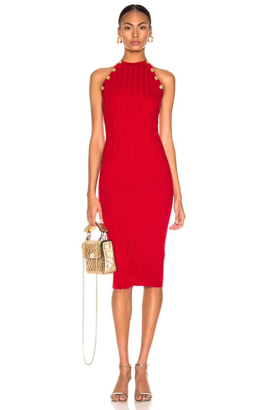Image 1 of BALMAIN Sleeveless Button Dress in Red
