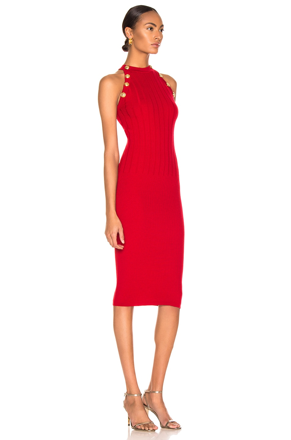 Image 2 of BALMAIN Sleeveless Button Dress in Red