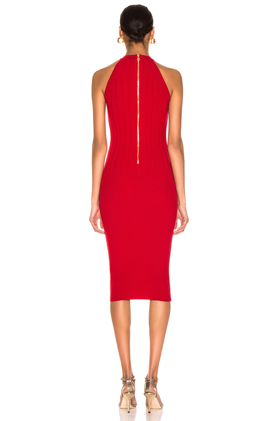 Image 3 of BALMAIN Sleeveless Button Dress in Red