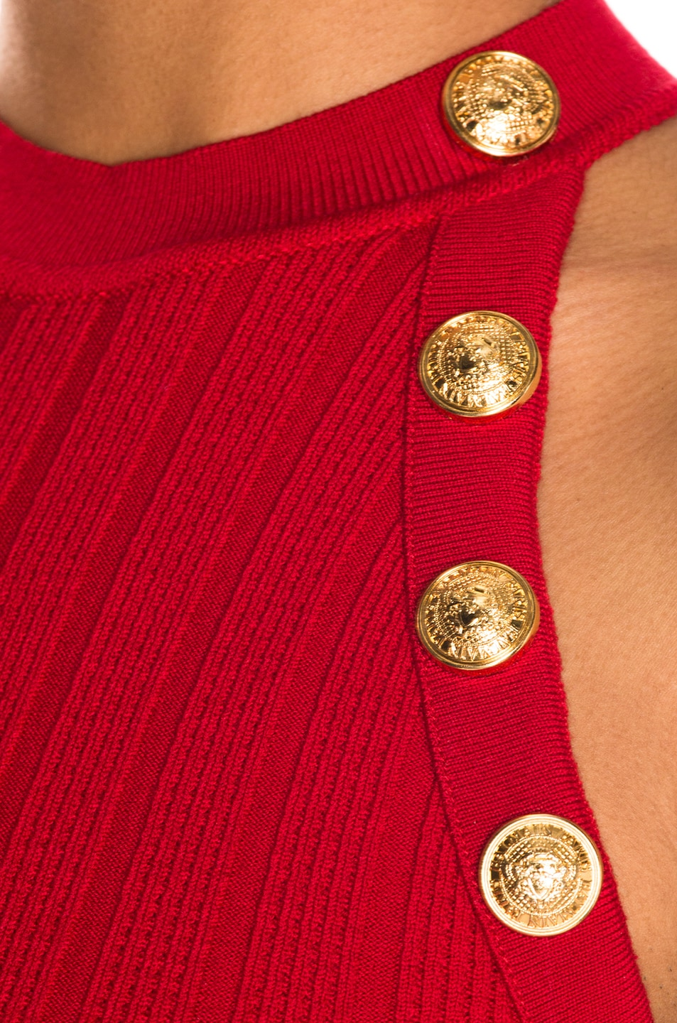 Image 4 of BALMAIN Sleeveless Button Dress in Red