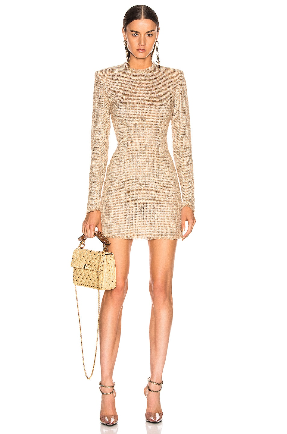 Image 1 of BALMAIN Sequined Dress in Sable & Blanc