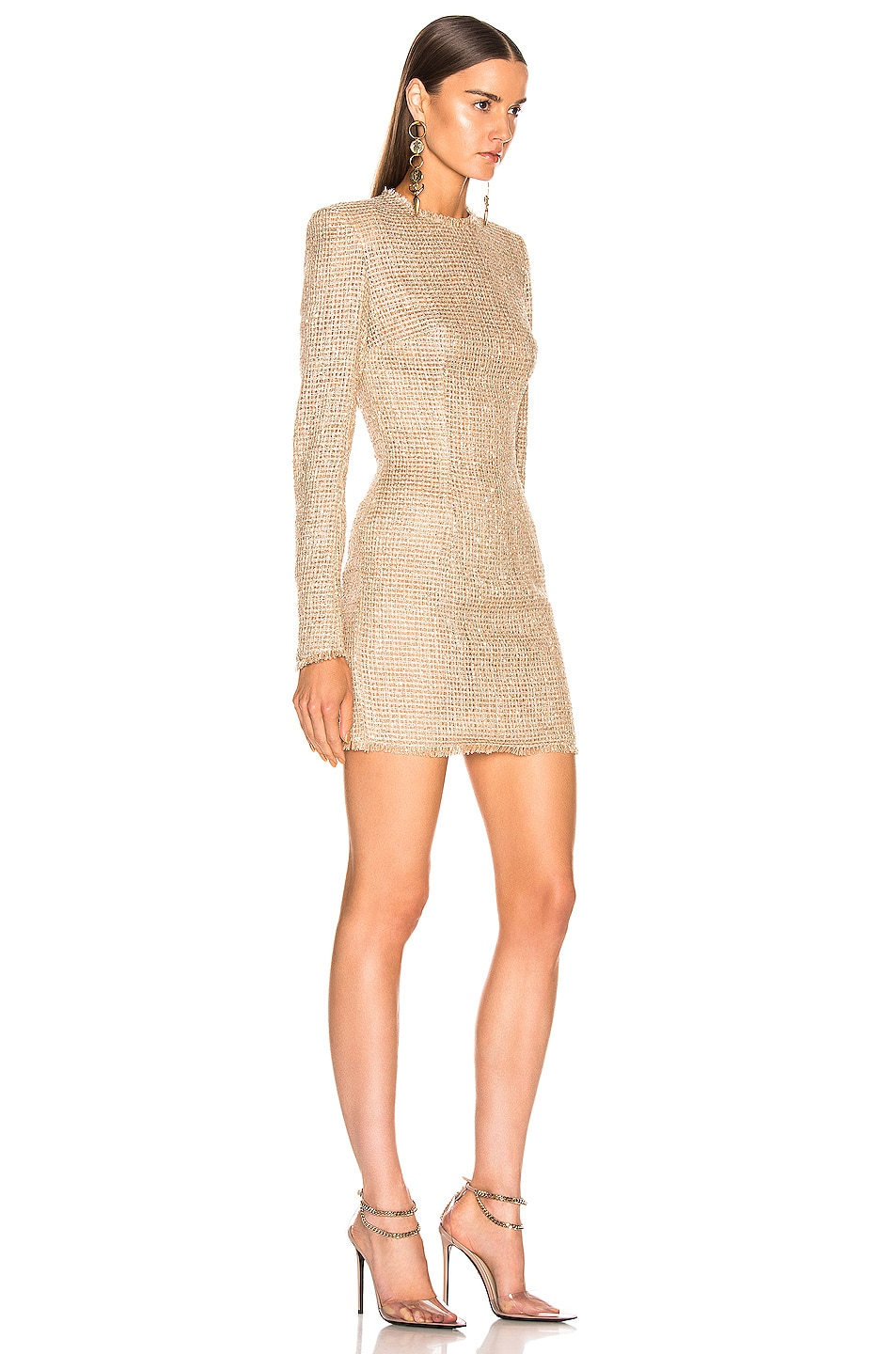 Image 2 of BALMAIN Sequined Dress in Sable & Blanc
