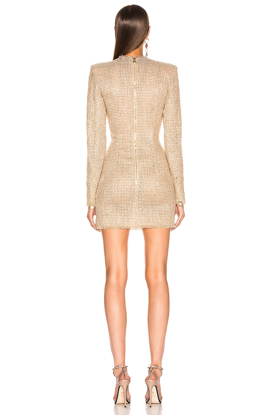 Image 3 of BALMAIN Sequined Dress in Sable & Blanc
