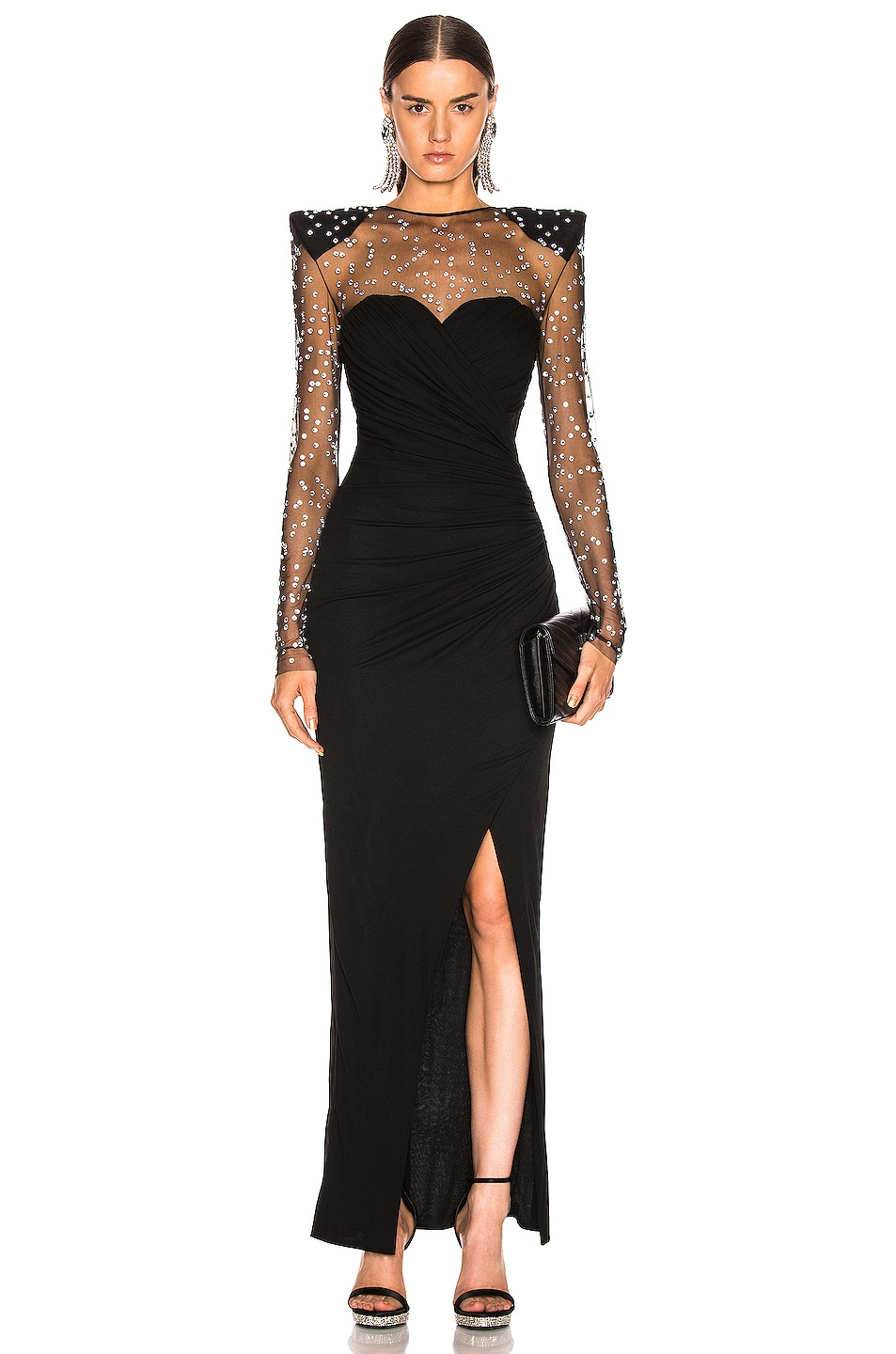 Image 1 of BALMAIN Strass Dress in Noir & Crystal