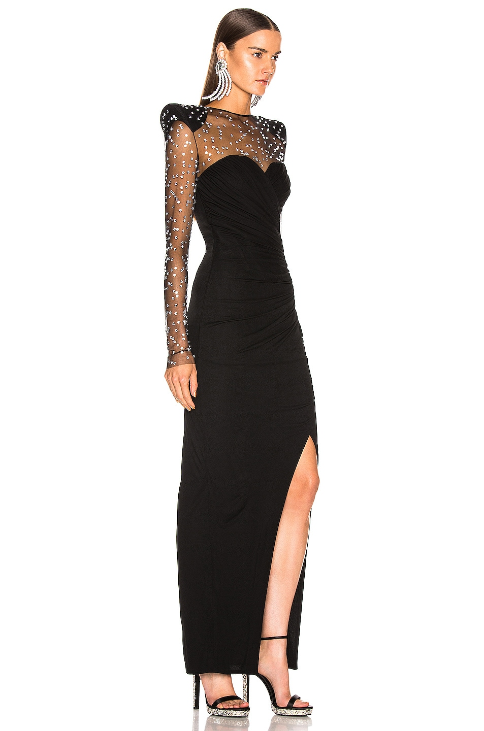 Image 2 of BALMAIN Strass Dress in Noir & Crystal
