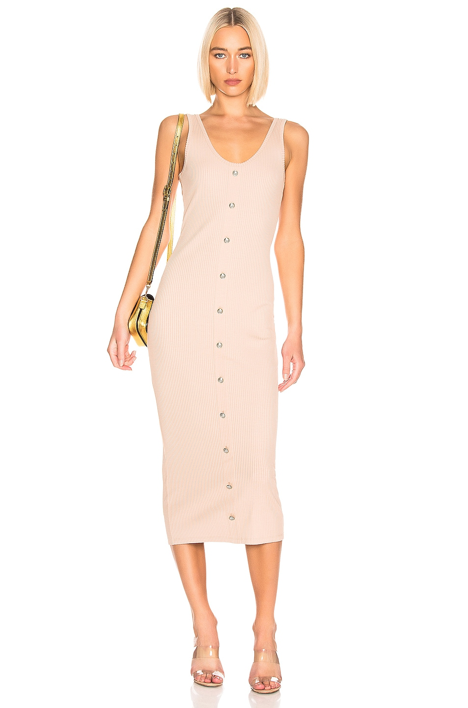 Image 1 of BALMAIN Button Ribbed Dress in Nude