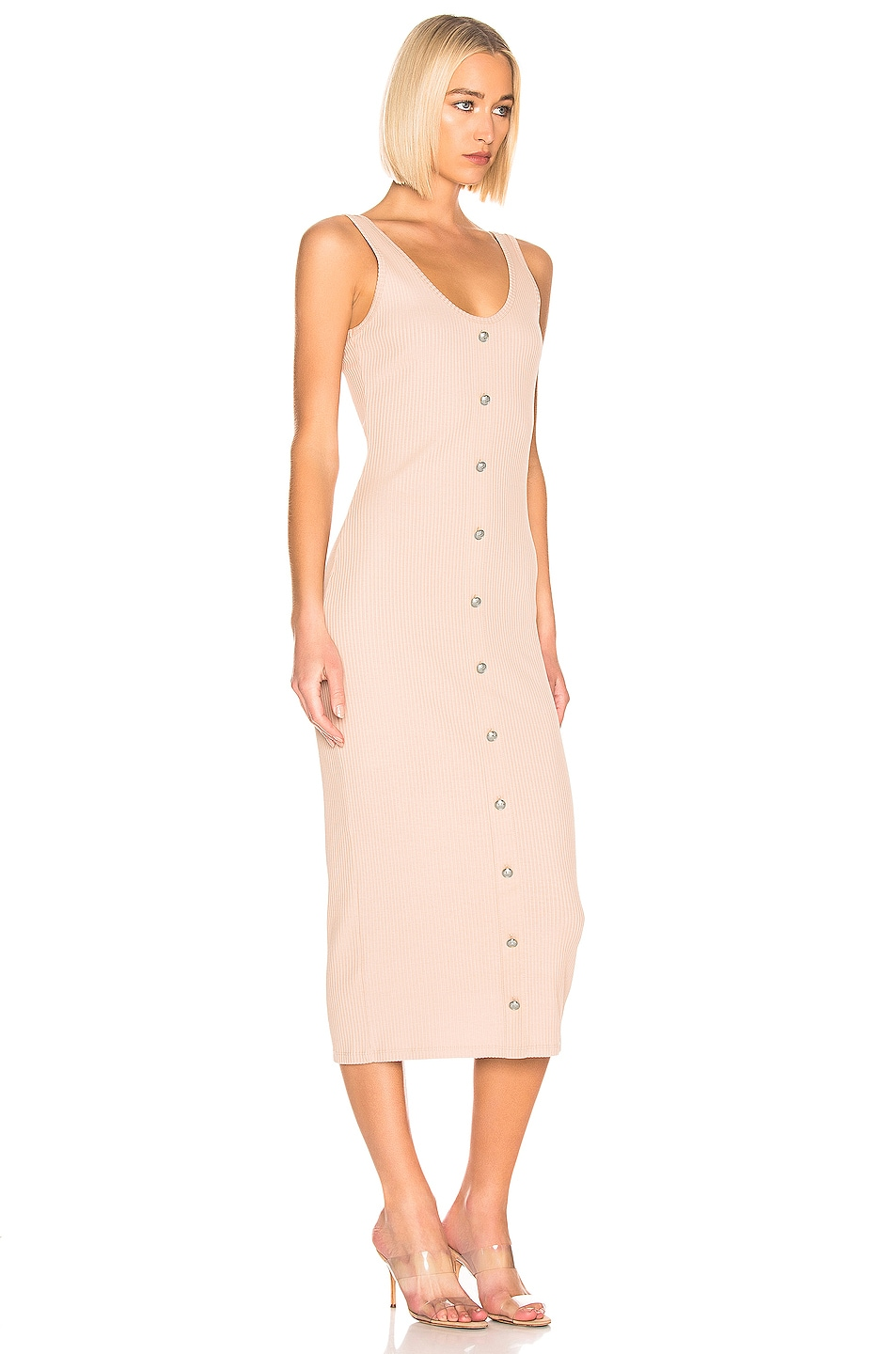 Image 2 of BALMAIN Button Ribbed Dress in Nude