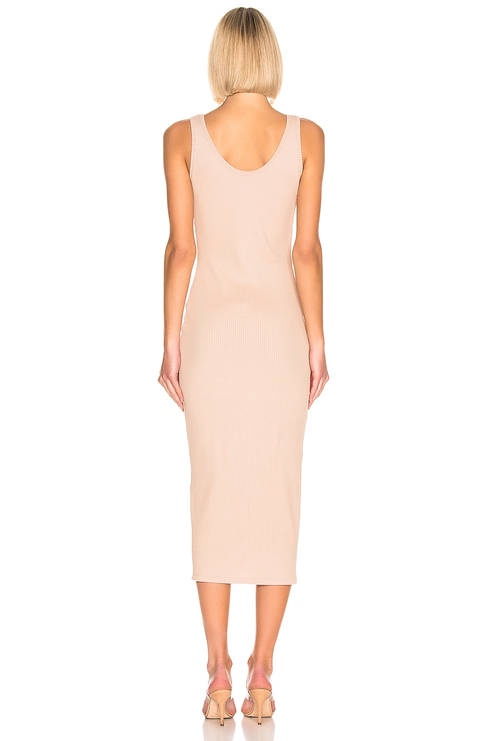 Image 3 of BALMAIN Button Ribbed Dress in Nude