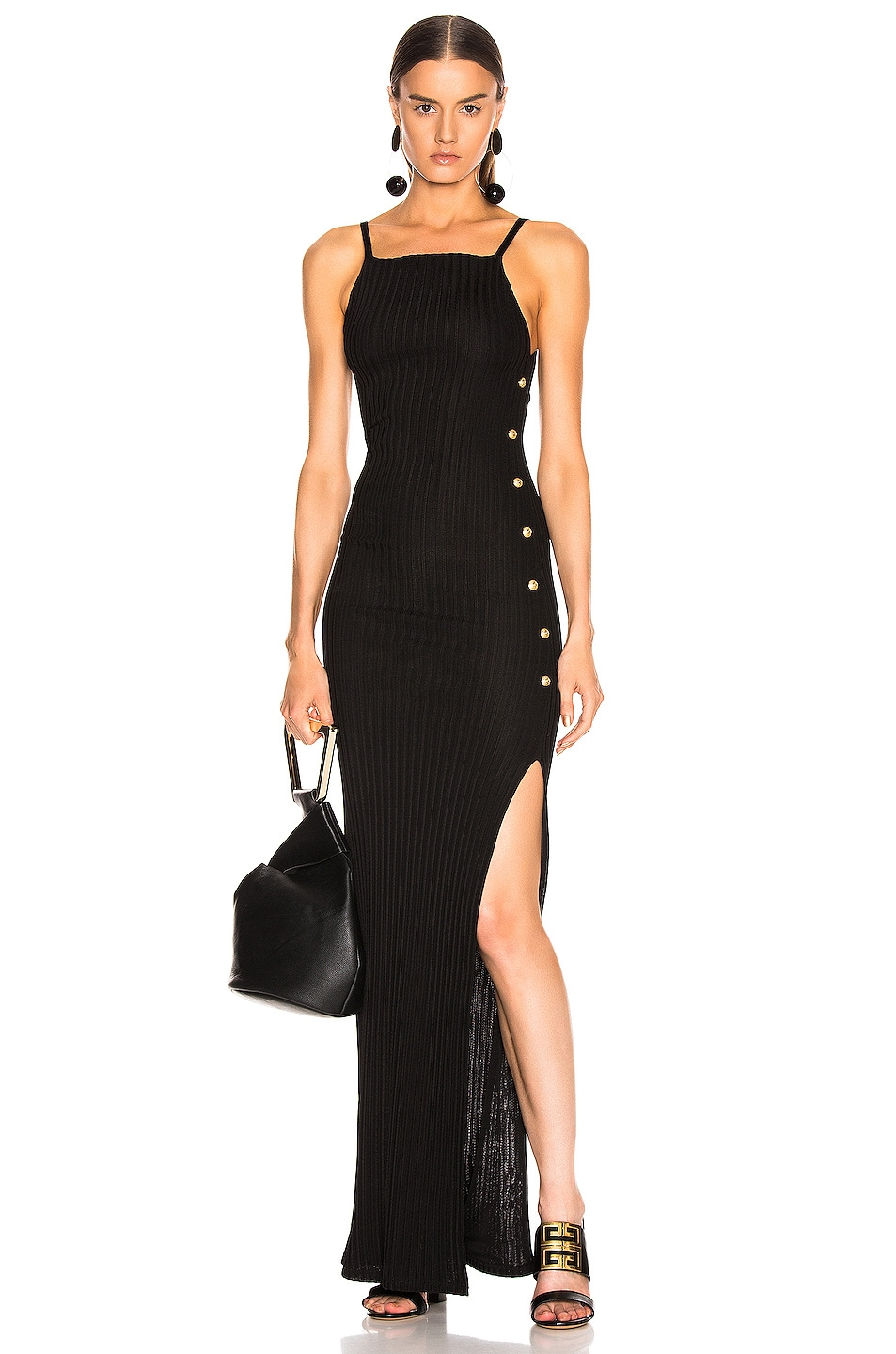 Image 1 of BALMAIN Ribbed Button Strap Dress in Noir