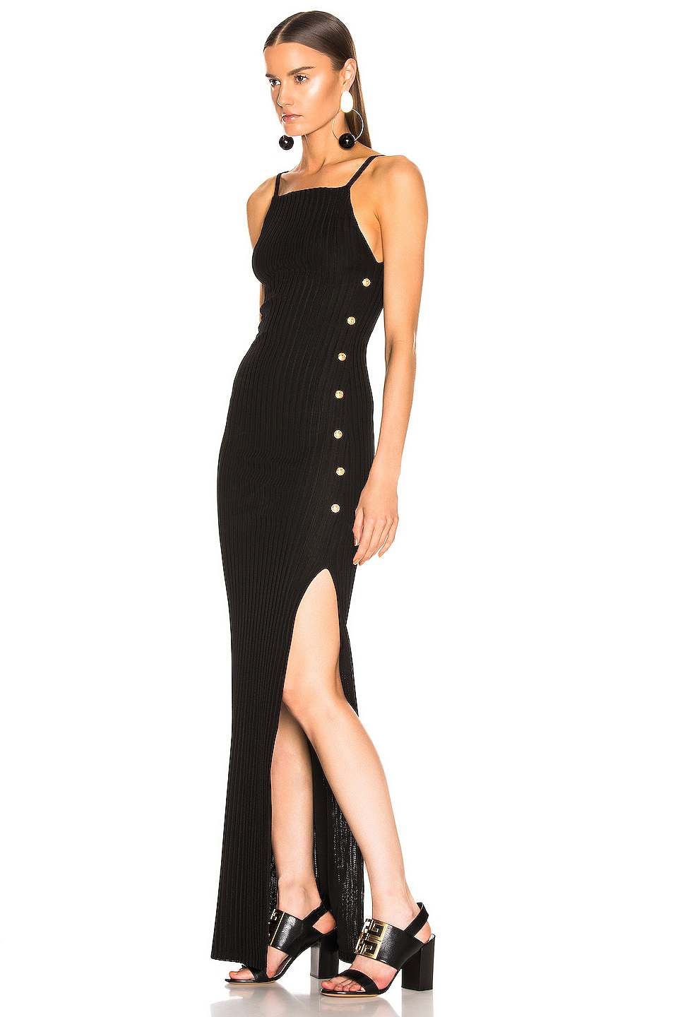 Image 3 of BALMAIN Ribbed Button Strap Dress in Noir