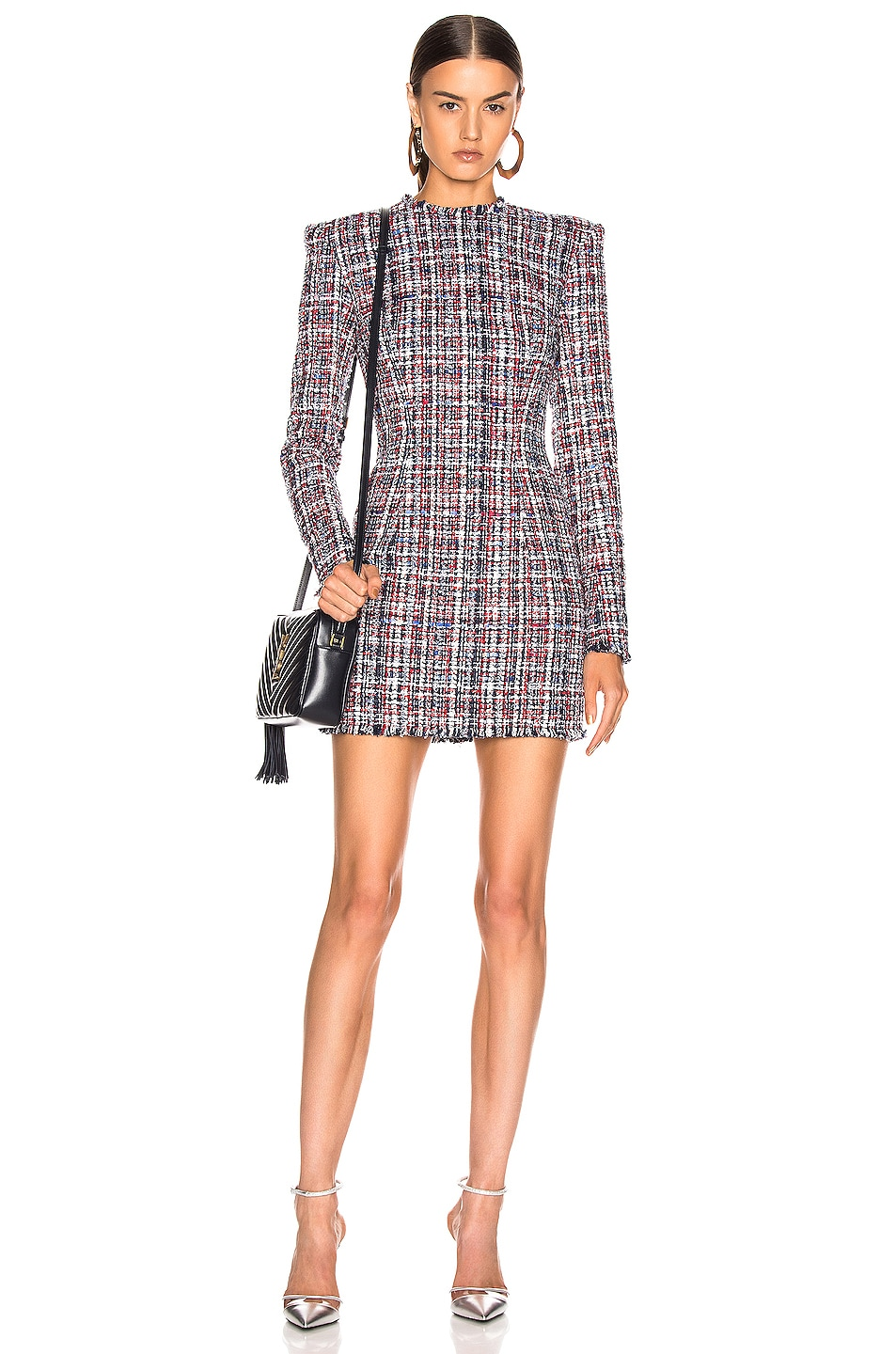 Image 1 of BALMAIN Tweed Button Dress in Red & White & Blue