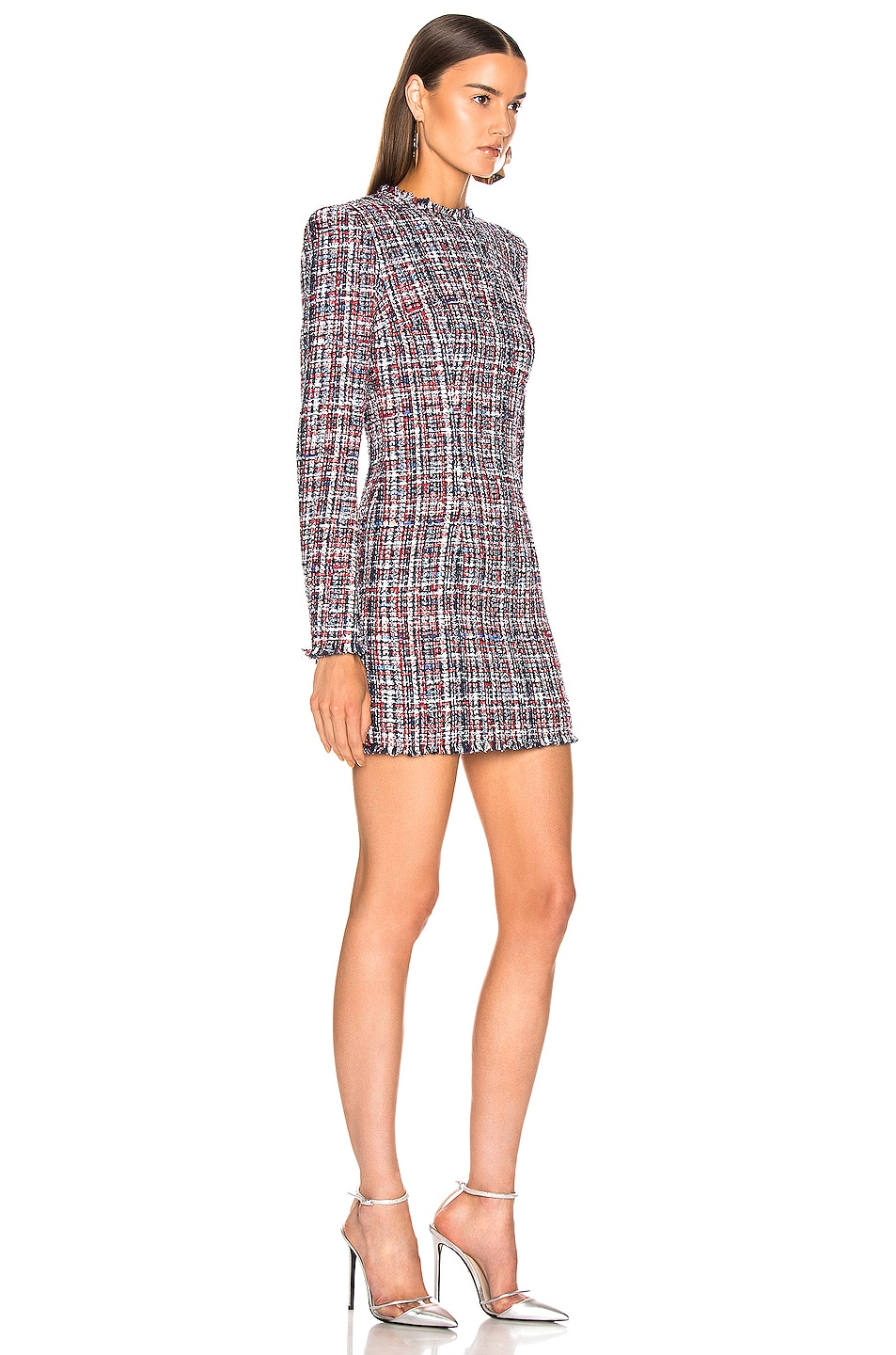 Image 2 of BALMAIN Tweed Button Dress in Red & White & Blue