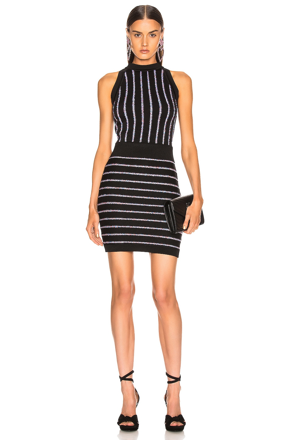 Image 1 of BALMAIN Short Sleeveless Striped Dress in Black & Multi Stripe