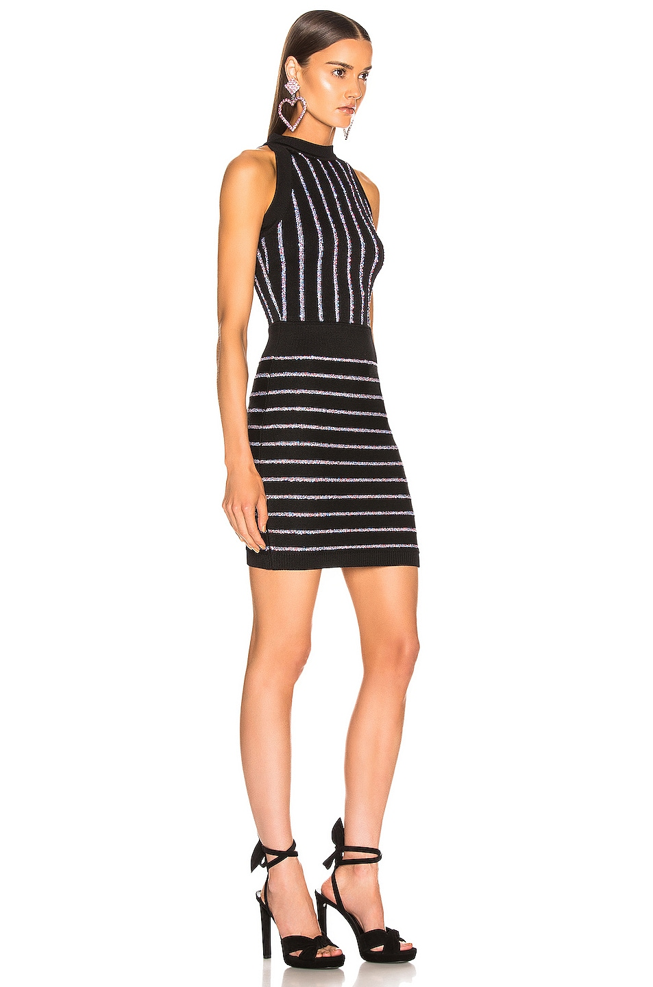 Image 2 of BALMAIN Short Sleeveless Striped Dress in Black & Multi Stripe