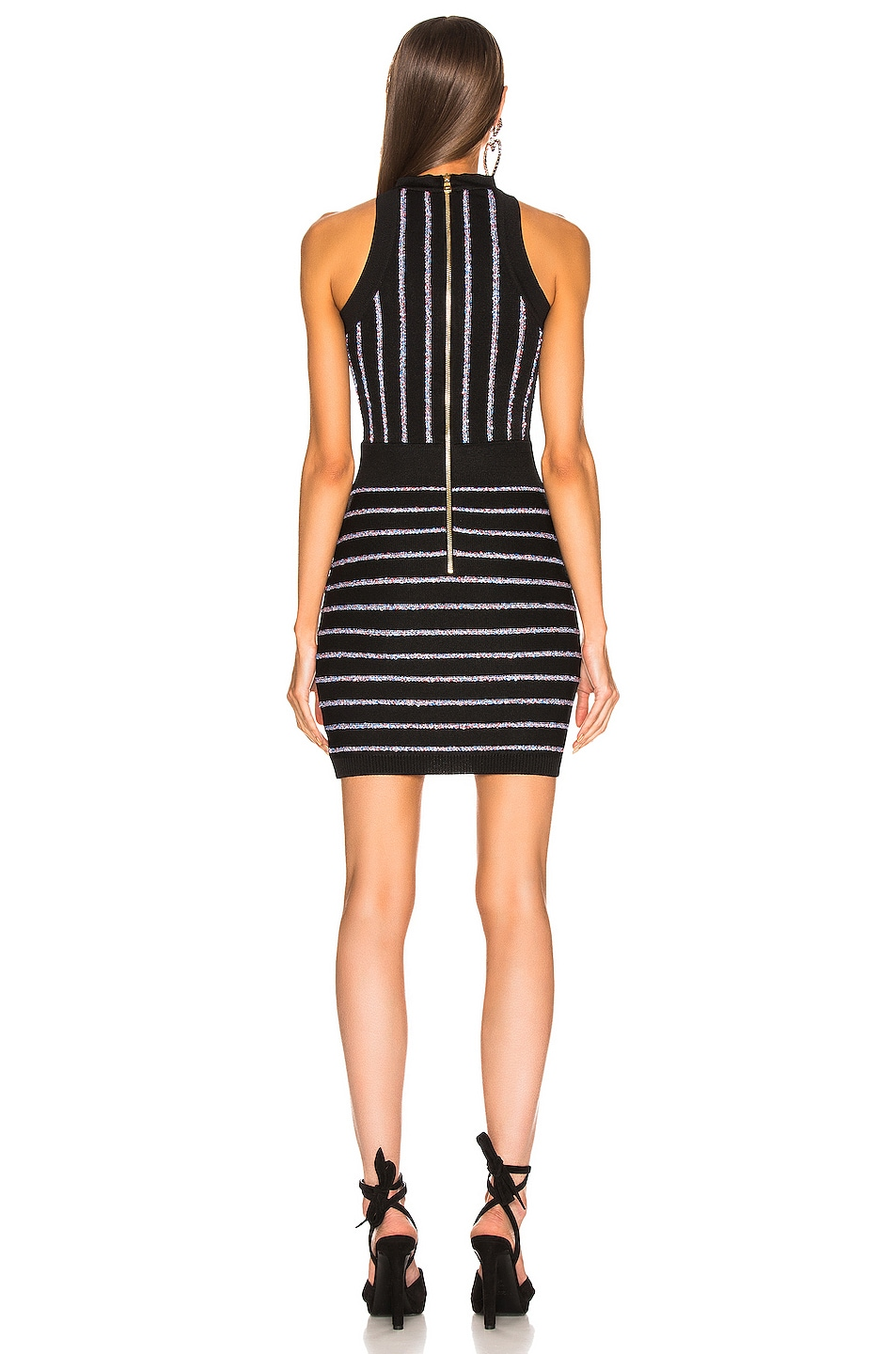 Image 3 of BALMAIN Short Sleeveless Striped Dress in Black & Multi Stripe