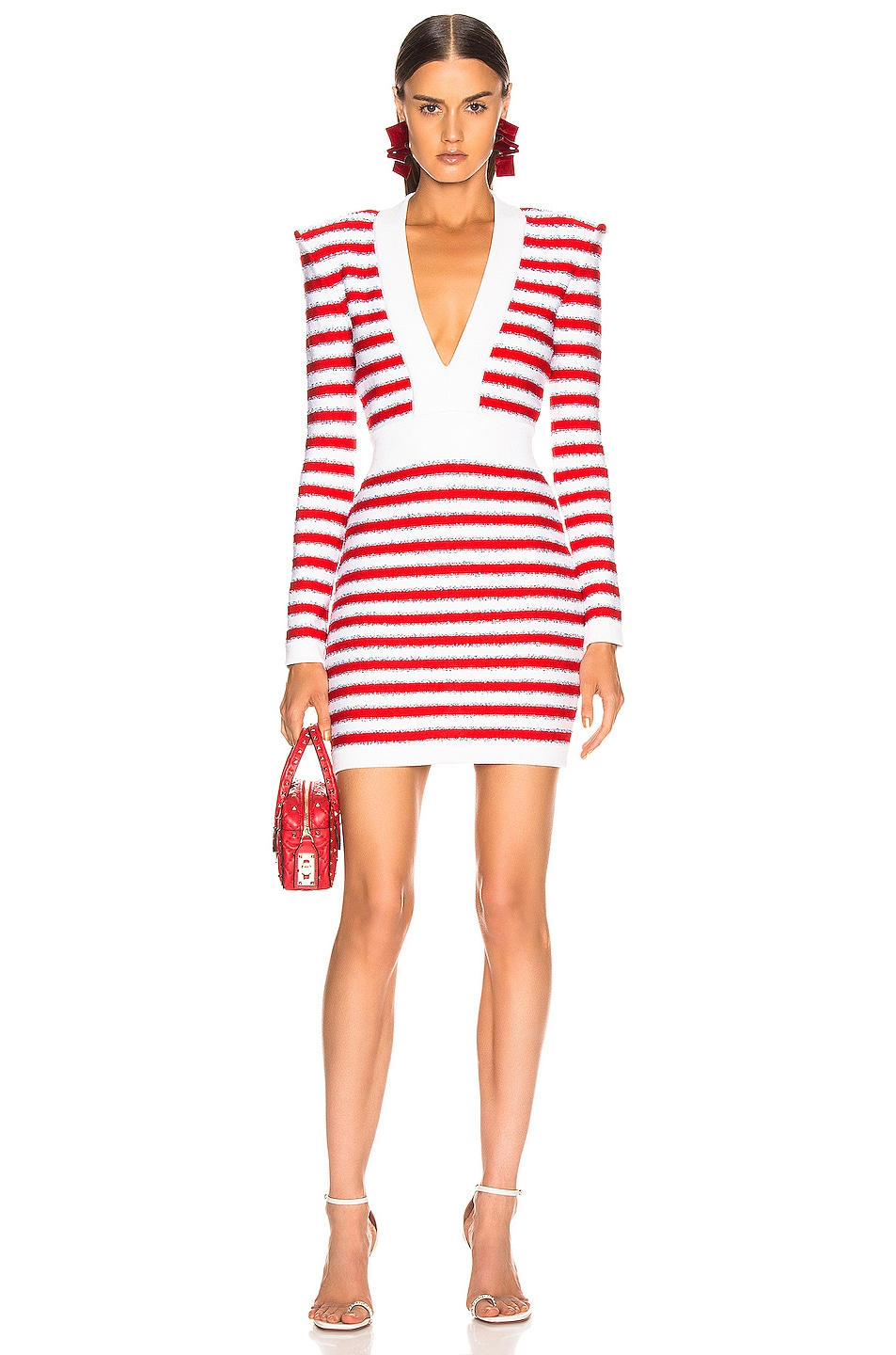 Image 1 of BALMAIN V Neck Tricolored Stripe Dress in White & Red & Blue