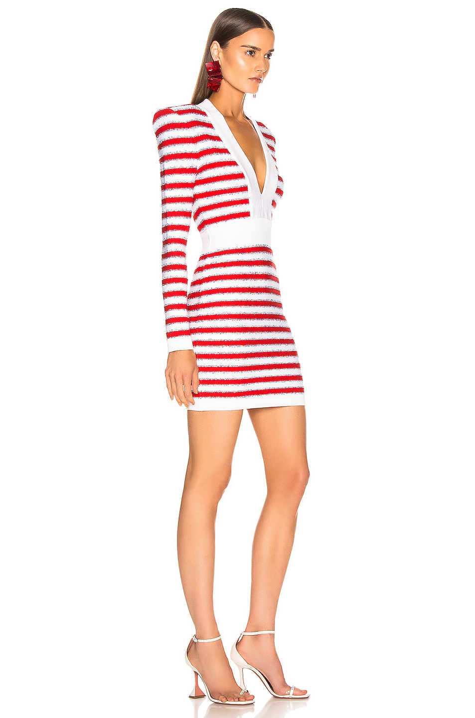 Image 2 of BALMAIN V Neck Tricolored Stripe Dress in White & Red & Blue