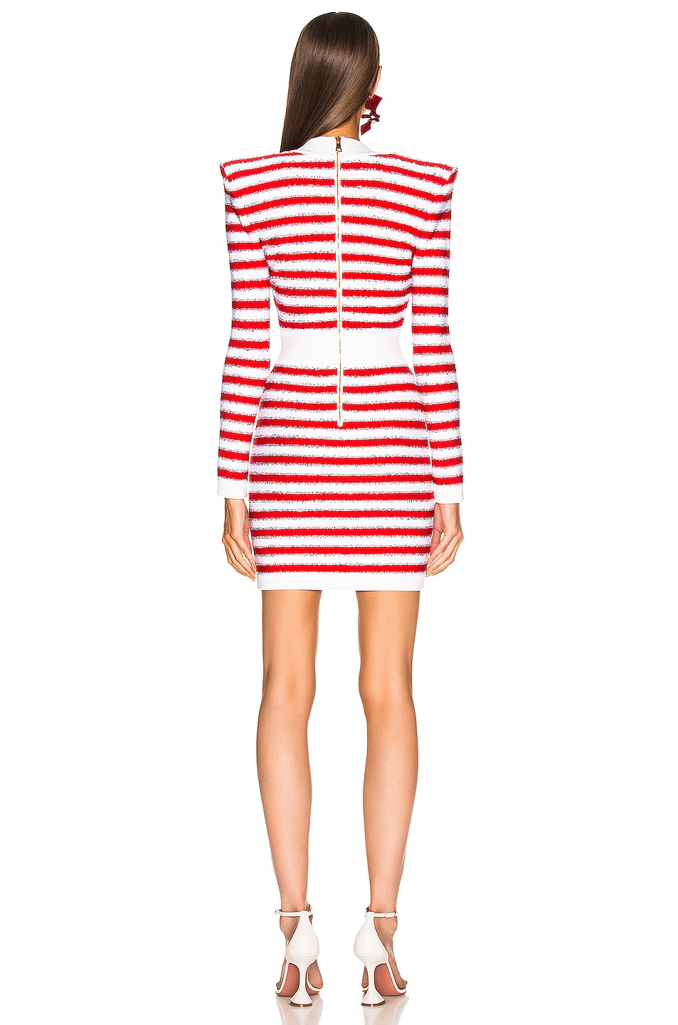 Image 3 of BALMAIN V Neck Tricolored Stripe Dress in White & Red & Blue
