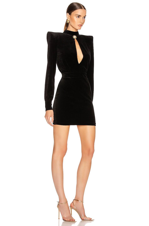Image 3 of BALMAIN High Neck Velvet Dress in Black