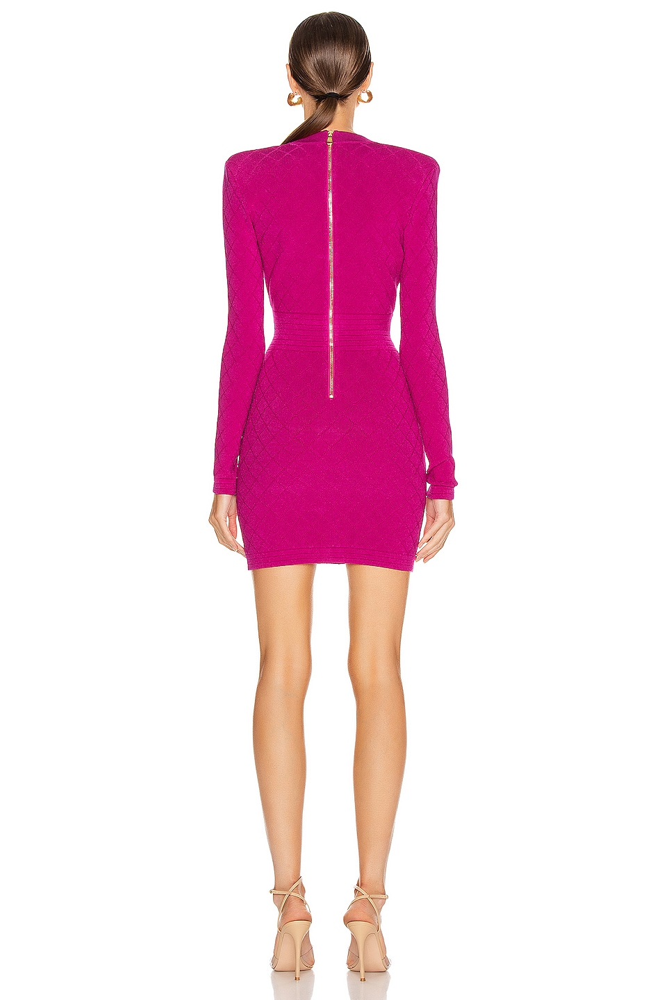 Image 3 of BALMAIN V Neck Diamond Dress in Rose Fuchsia