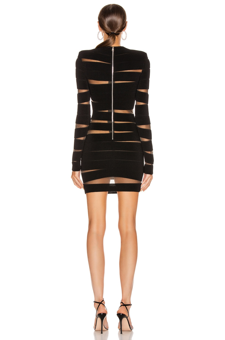 Image 4 of BALMAIN Long Sleeve Open Knit Mini Dress in Black
