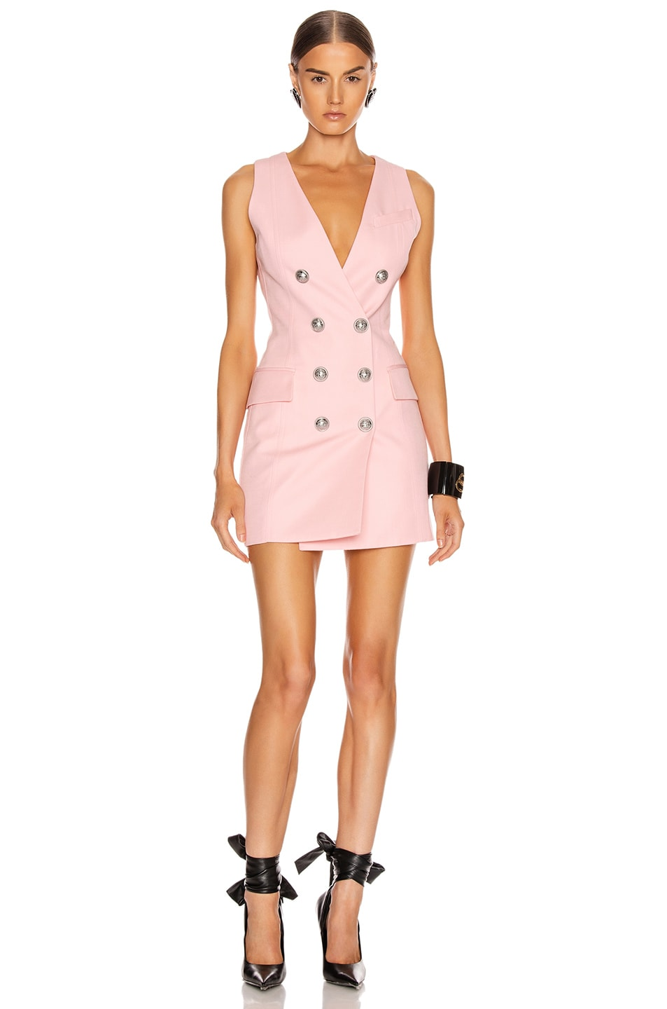 Image 1 of BALMAIN Sleeveless Button Mini Dress in Rose Pale