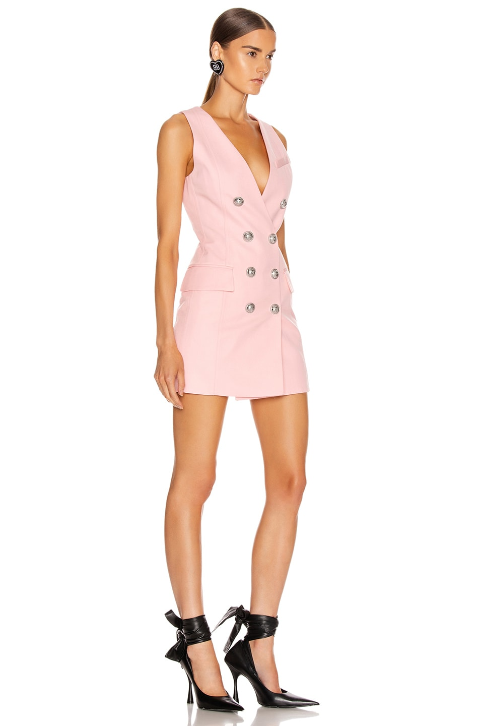 Image 2 of BALMAIN Sleeveless Button Mini Dress in Rose Pale