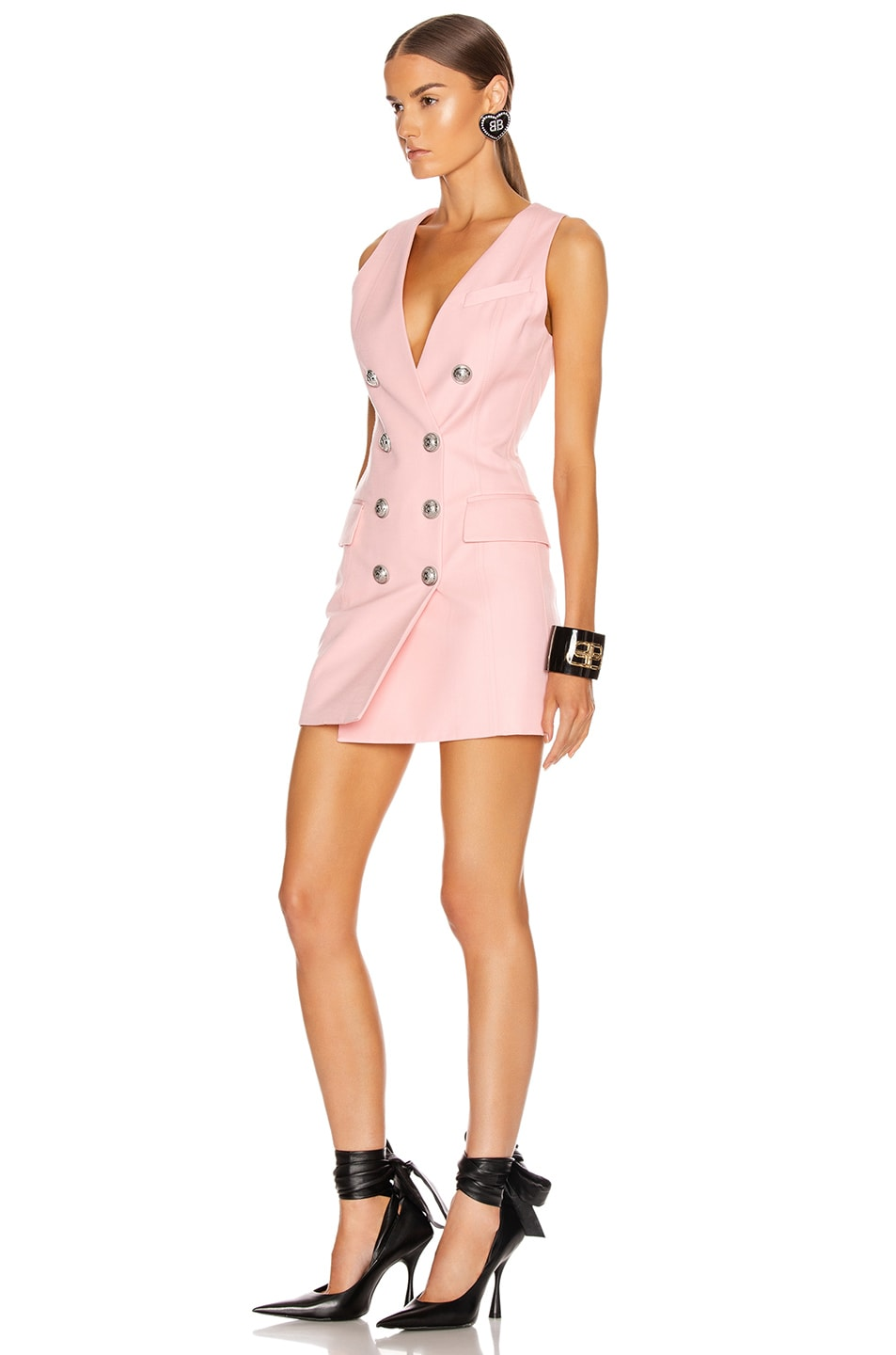 Image 3 of BALMAIN Sleeveless Button Mini Dress in Rose Pale