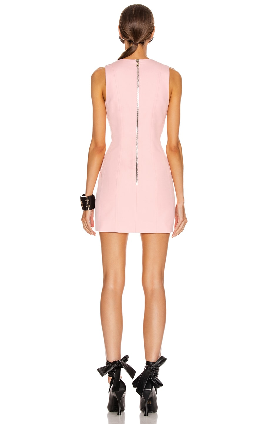 Image 4 of BALMAIN Sleeveless Button Mini Dress in Rose Pale