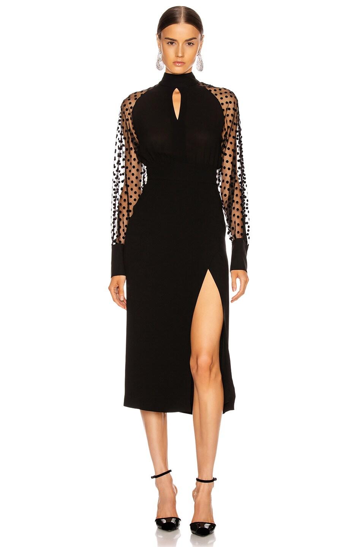 Image 1 of BALMAIN Long Sleeve Cutout Swiss Dot Midi Dress in Black