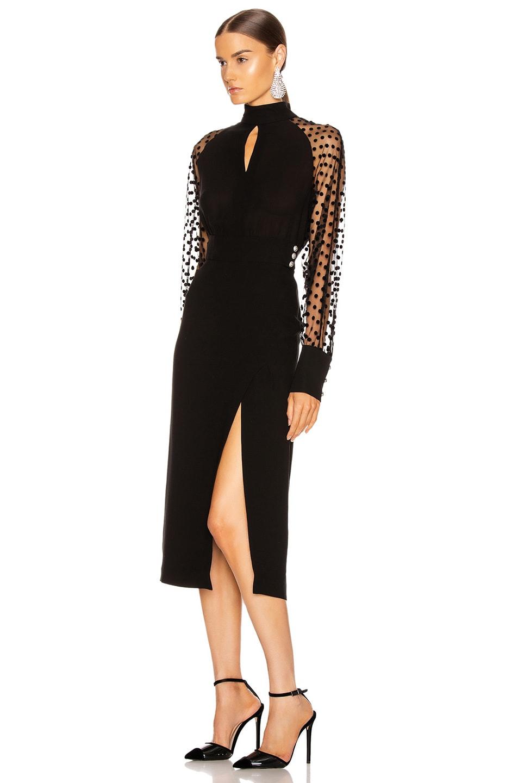 Image 3 of BALMAIN Long Sleeve Cutout Swiss Dot Midi Dress in Black