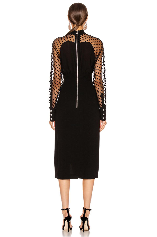Image 4 of BALMAIN Long Sleeve Cutout Swiss Dot Midi Dress in Black
