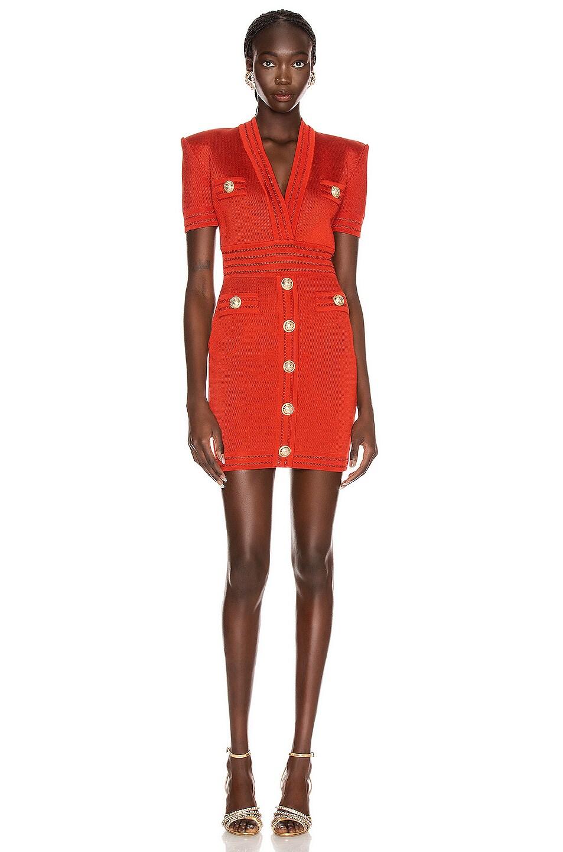 Image 1 of BALMAIN Short Sleeve V Neck Dress in Rouille