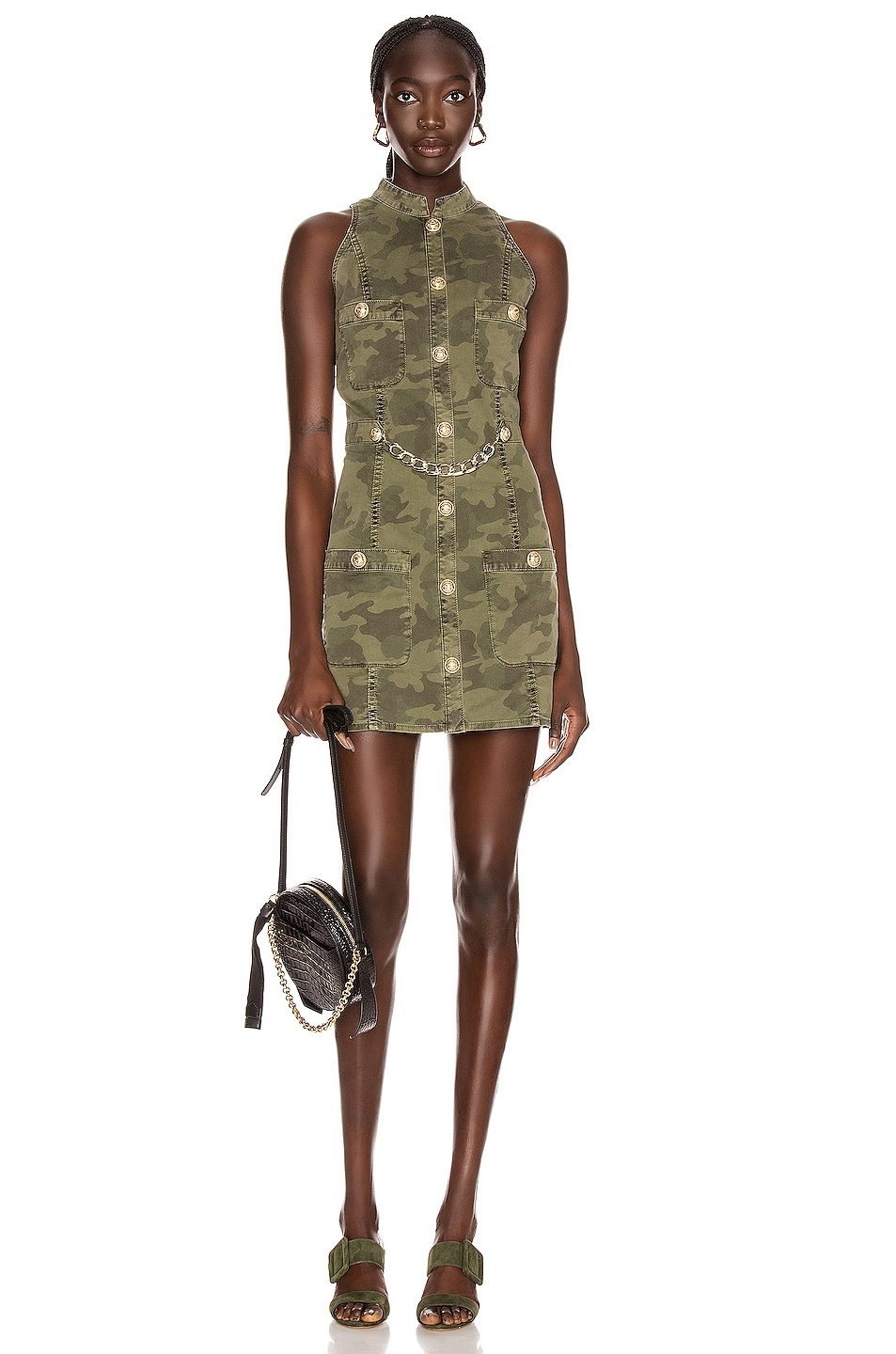 Image 1 of BALMAIN Short Sleeve Camouflage Denim Dress in Khaki