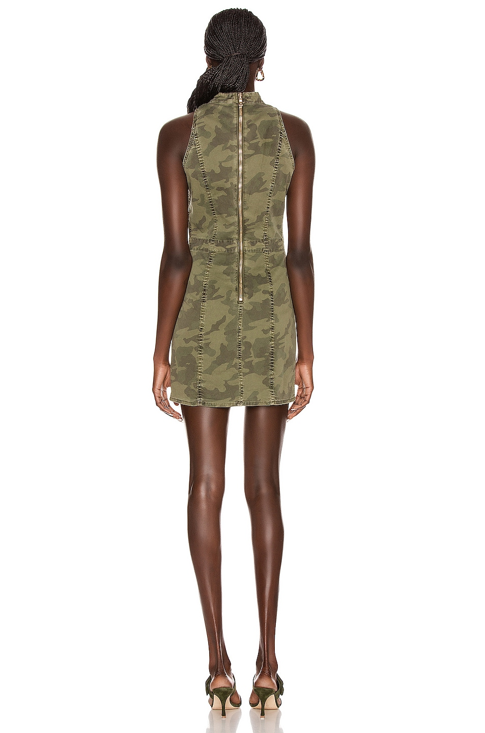 Image 3 of BALMAIN Short Sleeve Camouflage Denim Dress in Khaki
