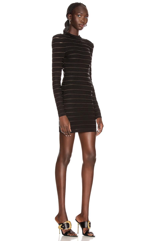 Image 2 of BALMAIN Short Logo Stripe Dress in Black