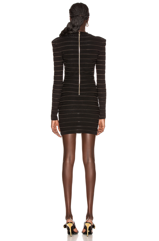 Image 3 of BALMAIN Short Logo Stripe Dress in Black